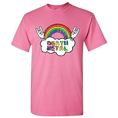 8663116c Death Metal Rainbow - Funny Happy Rock Music Humor T Shirt - Small - Azalea