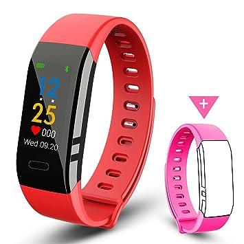 EJIKER Montre Connectée Femme, Fitness Tracker dActivité pour Android iOS - Rouge & Rose