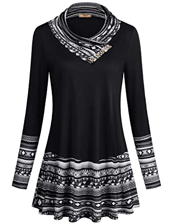 66bb1051460 Miusey Women s Long Sleeve Cowl Neck Form Fitting Casual Tunic Top ...