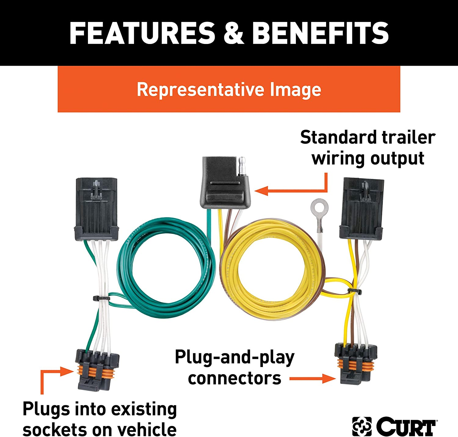 CURT 56015 Vehicle-Side Custom 4-Pin Trailer Wiring Harness for Select Ford Taurus