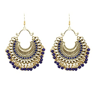 0842a84fafa Antique Gold Plated Indian Bollywood Vintage Style Blue Afghani Earrings  For Women   Girls Fashion Jewelry  Amazon.co.uk  Jewellery