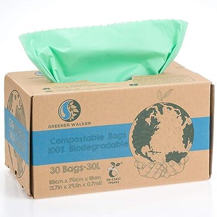 Greener Walker 100% compostable Biodegradable 30L Bolsa Basura Alimentos Cocina Bolsas de basura-30 Bolsas