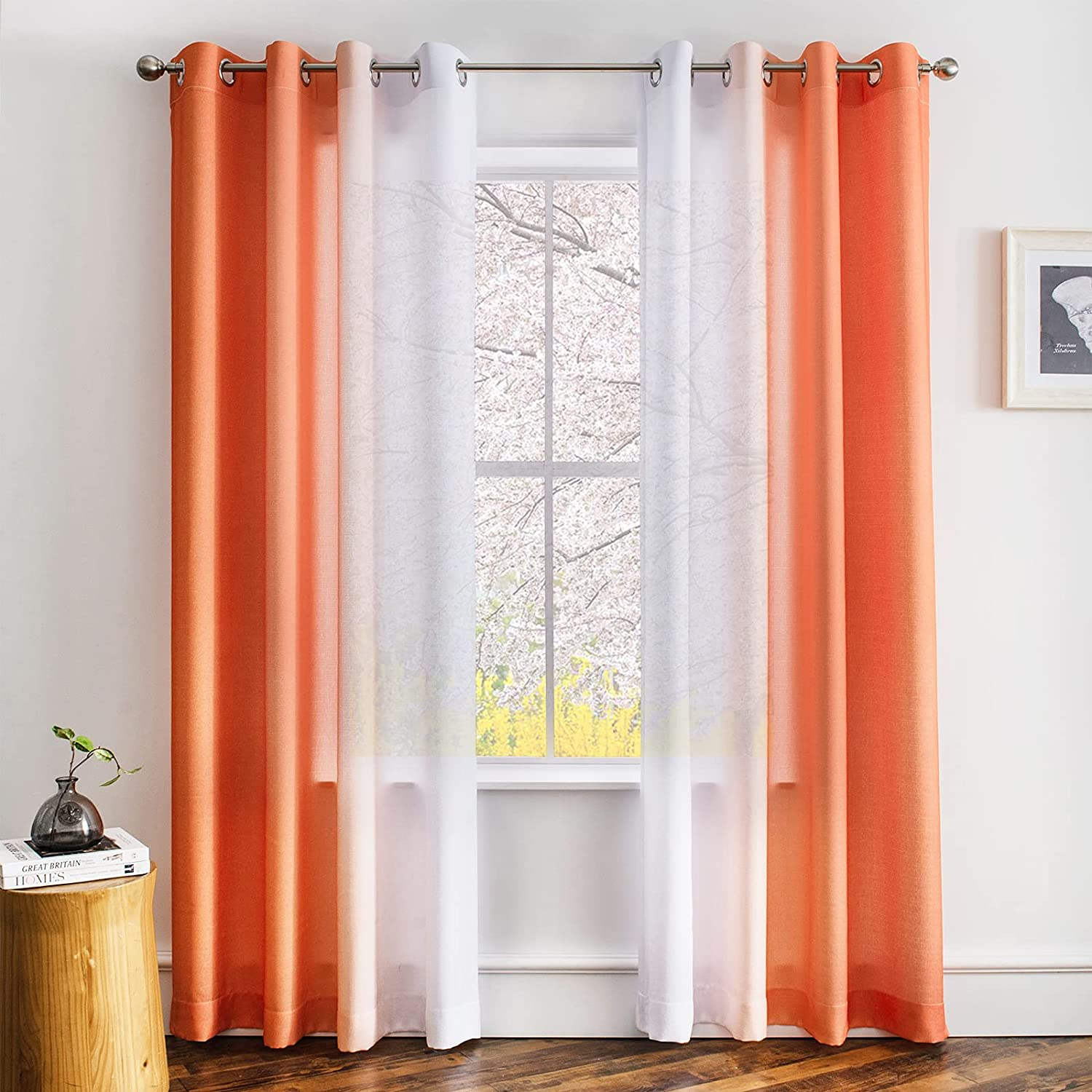 Melodieux Linen Ombre Semi Sheer Curtains 84 Inches Long for Living Room, Orange White Horizontal Gradient Grommet Voile Drapes, 52 x 84 Inch, 2 Panels