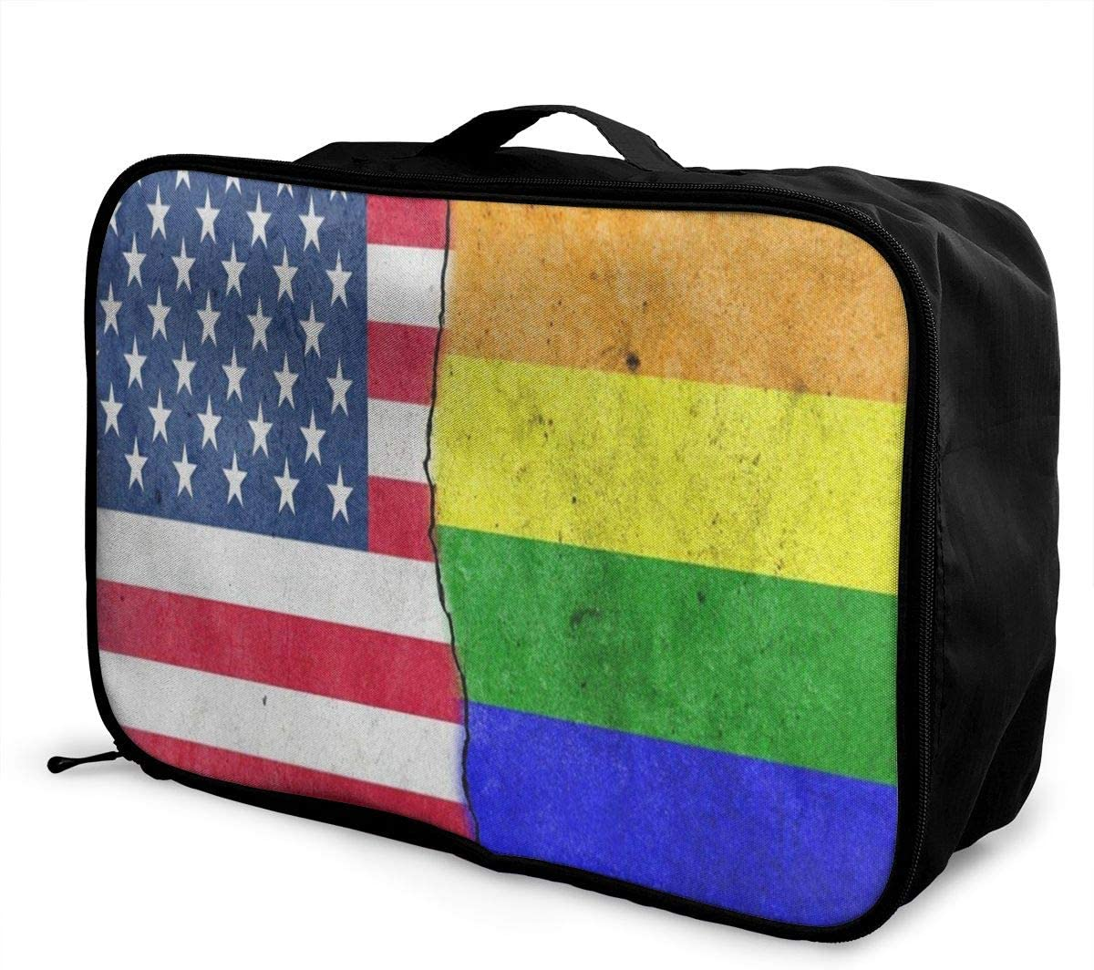 Travel Bags Watercolor American Flag Rainbow Wall Portable Duffel Hot Trolley Handle Luggage Bag