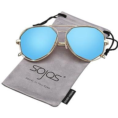 ed6eb5395e410 SojoS Fashion Metal Frame Flat Mirrored Lens Sunglasses SJ1004 With Gold  Frame Blue Lens
