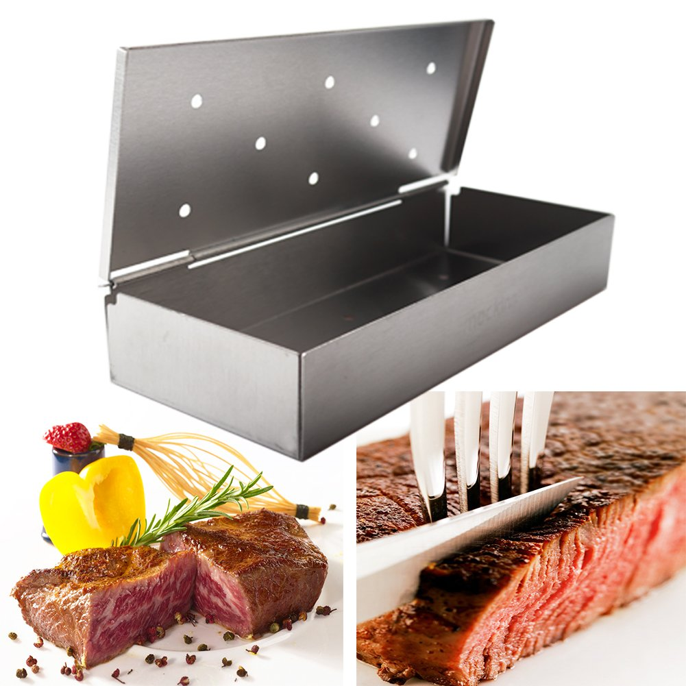 Mockins Even Thicker Stainless Steel BBQ Smoker Box for Grilling Barbecue Wood Chips On Gas Or Charcoal Grill … … by Mockins (Image #9)