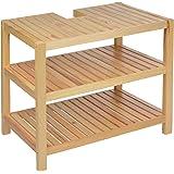 Waschtischunterschrank Holz braun 40 x 65 x 55 cm   Aussparung für Siphon   Drei Ablagefächer