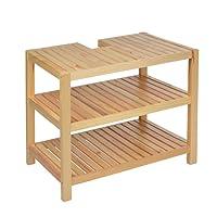 Waschtischunterschrank Holz braun 40 x 65 x 55 cm | Aussparung für Siphon | Drei Ablagefächer