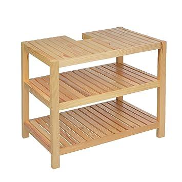 Waschtischunterschrank holz  Waschtischunterschrank Holz braun 40 x 65 x 55 cm | Aussparung für ...