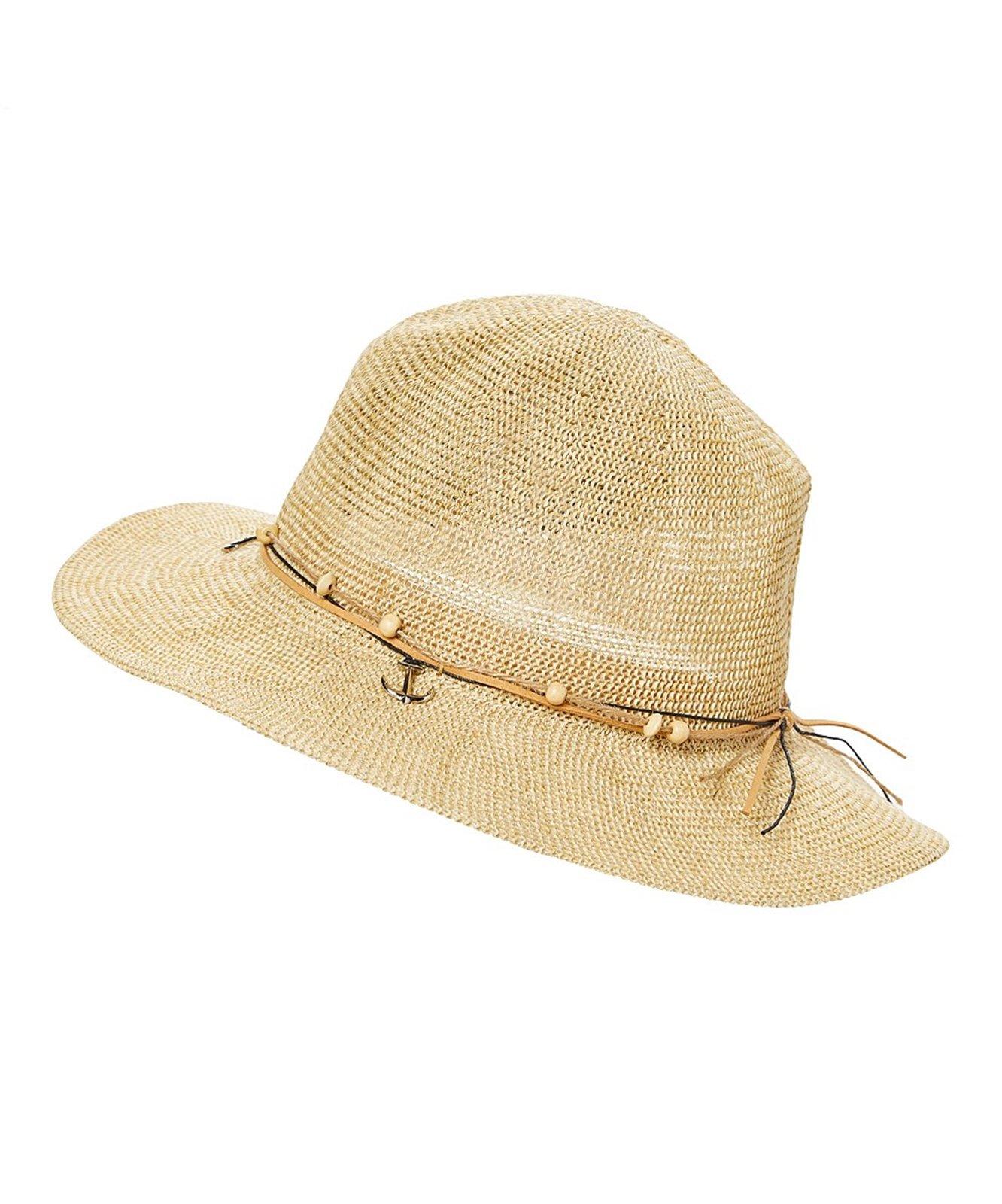 Lightweight Beach Panama w/Wooden Beads & Anchors, Short Brim Summer Sun Hat (Sandy Tan)