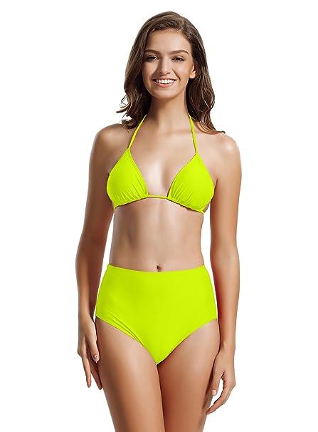 aad6cad69e zeraca Women's High Waisted Bottom Triangle Bikini Sets Swimwear (Small /  6, Blazing Yellow