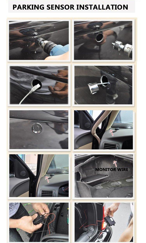 Car Rover/® Auto Einparkhilfe R/ückw/ärtseinparken Auto R/ückfahrradar R/ückradar Radar mit 4 Sensoren und Summer silber