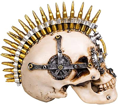 PUNKS NOT DEAD Skull 16cm Nemesis Now Mohawk Skull Ornament Gothic Free P+P