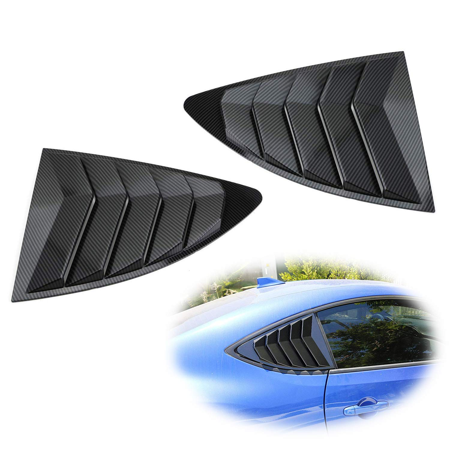 iJDMTOY Left/Right Gloss'Carbon Fiber' Finish Racing Style Rear Side Window Scoop Air Vent/Louver Shades For 2013-up Scion FR-S Subaru BRZ and Toyota 86 iJDMTOY Auto Accessories Air Vent Scoop Louver Assembly Assy Kit