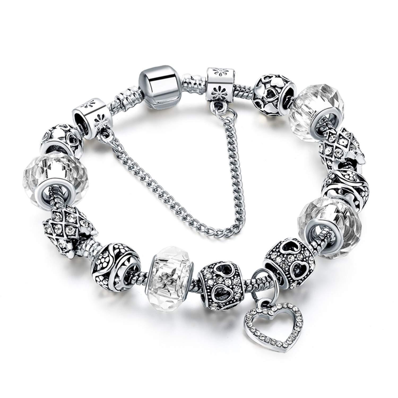 naivety Crystal Beads Bracelets for Women DIY Silver Heart Charm Bracelets Bangles Pulsera