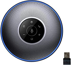 Bluetooth Speakerphone - eMeet M2 Gray Conference Speakerphone for 5-8 People Business Conference Call 360º Voice Pickup 4AI Microphone Self-Adaptive Conference Speakerphone Skype, Webinar, Phone