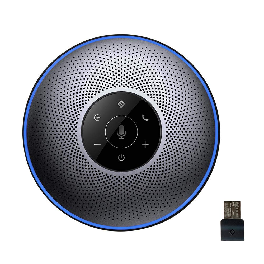 Bluetooth Speakerphone - eMeet M2 Gray Conference Speakerphone for 5-8 People Business Conference Call 360º Voice Pickup 4AI Microphone Self-Adaptive Conference Speakerphone Skype, Webinar, Phone by eMeet