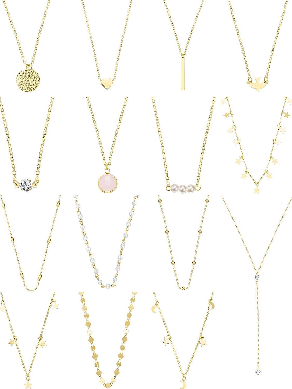 Yaomiao 15 Unidades Collar de Gargantilla en Capas para Mujeres Niñas Coin Star Cadena de Múltiples Capas Collares Conjunto Ajustable (Oro 1)