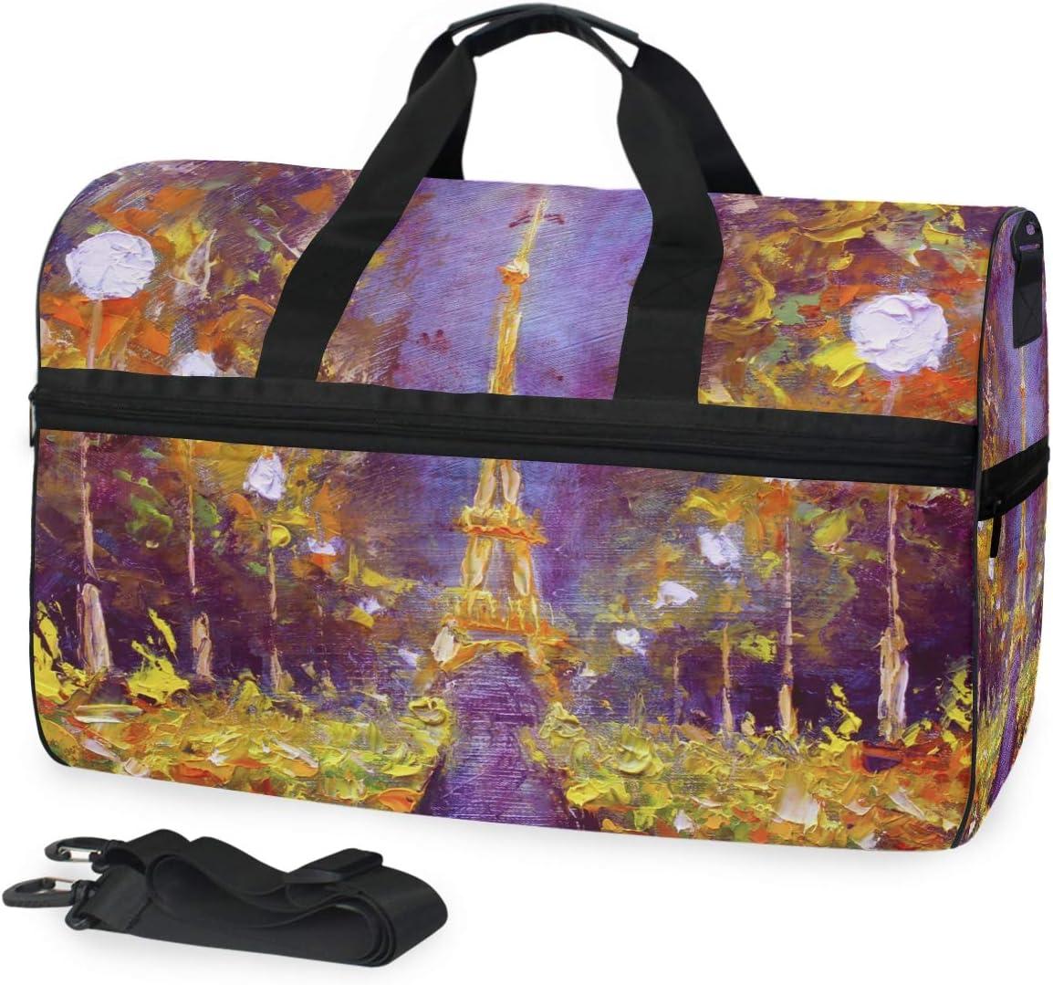 TFONE Watercolor Art Paris Eiffel Tower Duffel Bag Sports Gym Weekend Bags with Shoe Compartmen