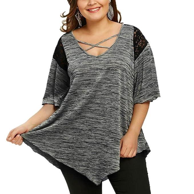 Blusas Para Mujer Rawdah Talla Grande Para De La Moda Mujer Sexy Blusa TúNica Asimetrica con