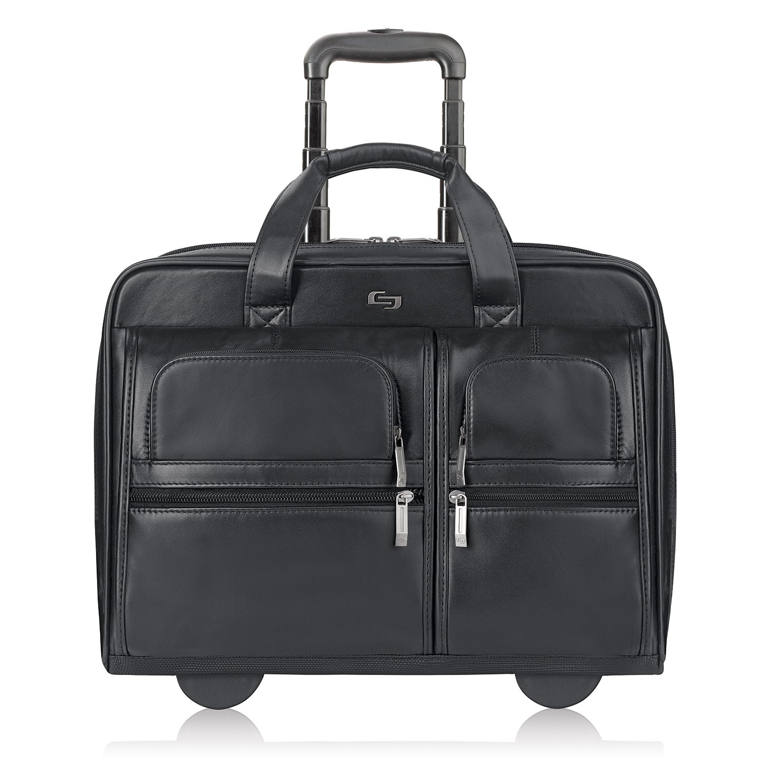 SOLO Premium Leather Rolling 15.6 Laptop Case, Black, D957-4