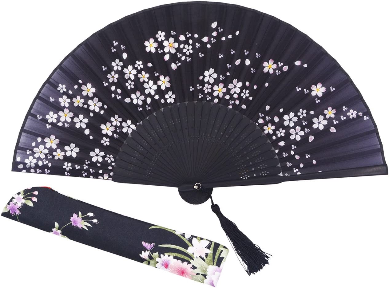 "Amajiji Charming Elegant Modern Woman Handmade Bamboo Silk 8.27"" (21cm) Folding Pocket Purse Hand Fan, Collapsible Transparent Holding Painted Fan with Silk Pouches/Wrapping. (CZT-05)"