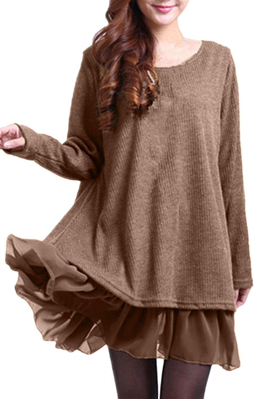 TALLA EU 48. ZANZEA Mujer Vestido Elegante Algodón Corto Casual Gasa Lazo Cuello Redondo Mangas Largas Vestidos Invierno Mujer Caqui1 EU 48