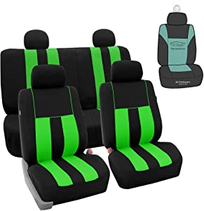 FH Group FB036114 Striking Striped Seat Covers (Green) Full Set with Gift – Universal Fit for Cars Trucks & SUVs