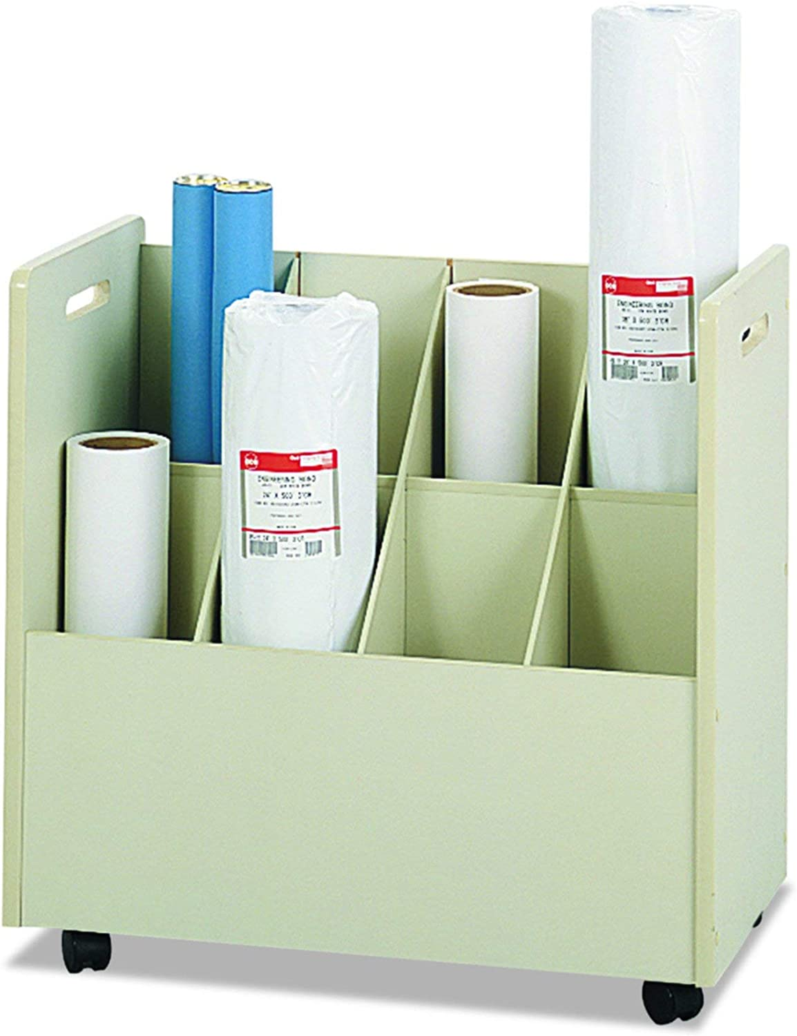 Mobile Roll File 50 Compartment Tan Wood