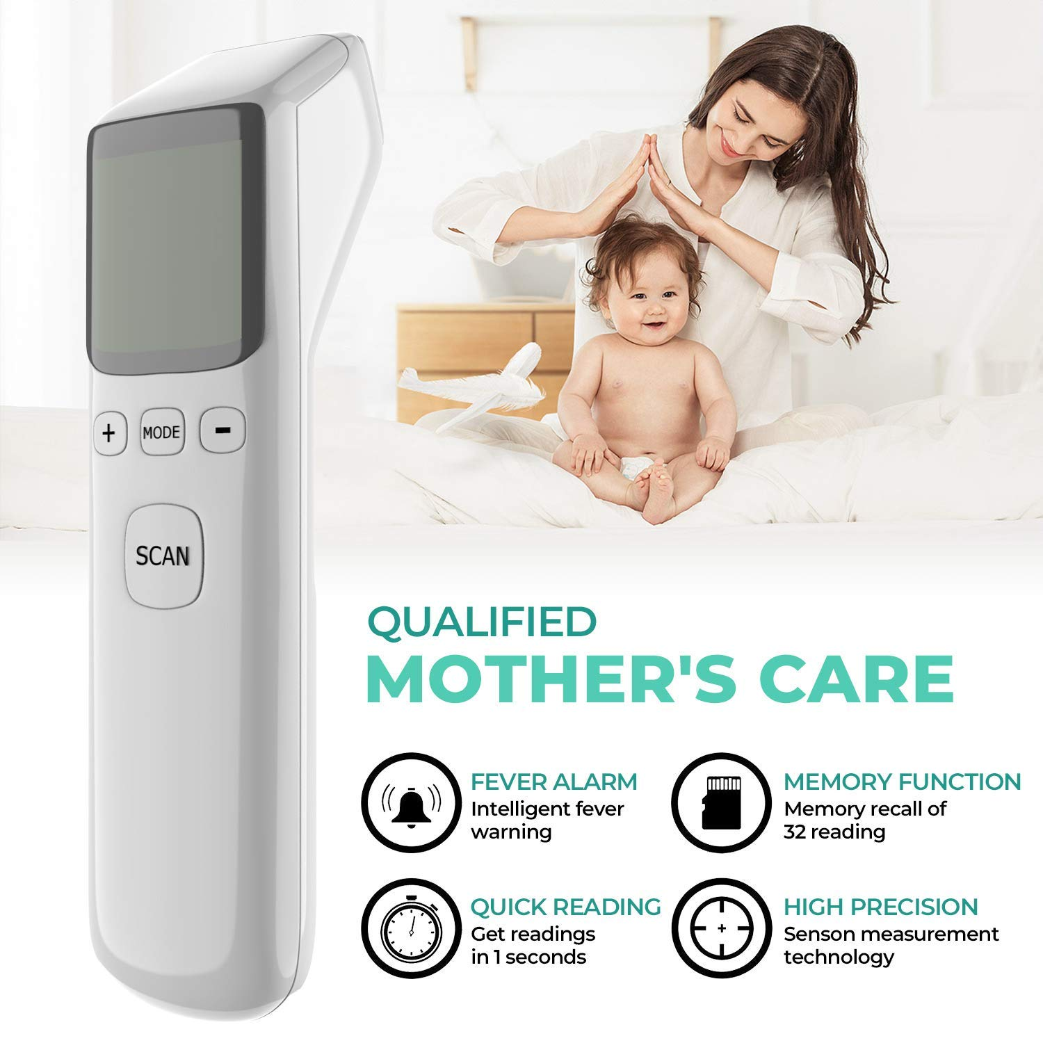 Forehead Thermometer Infrared Baby Thermometer for Fever Clinical Digital Ear Thermometer for Surface Body with LCD Display Instant Reading for Baby Kids Adult Home Use
