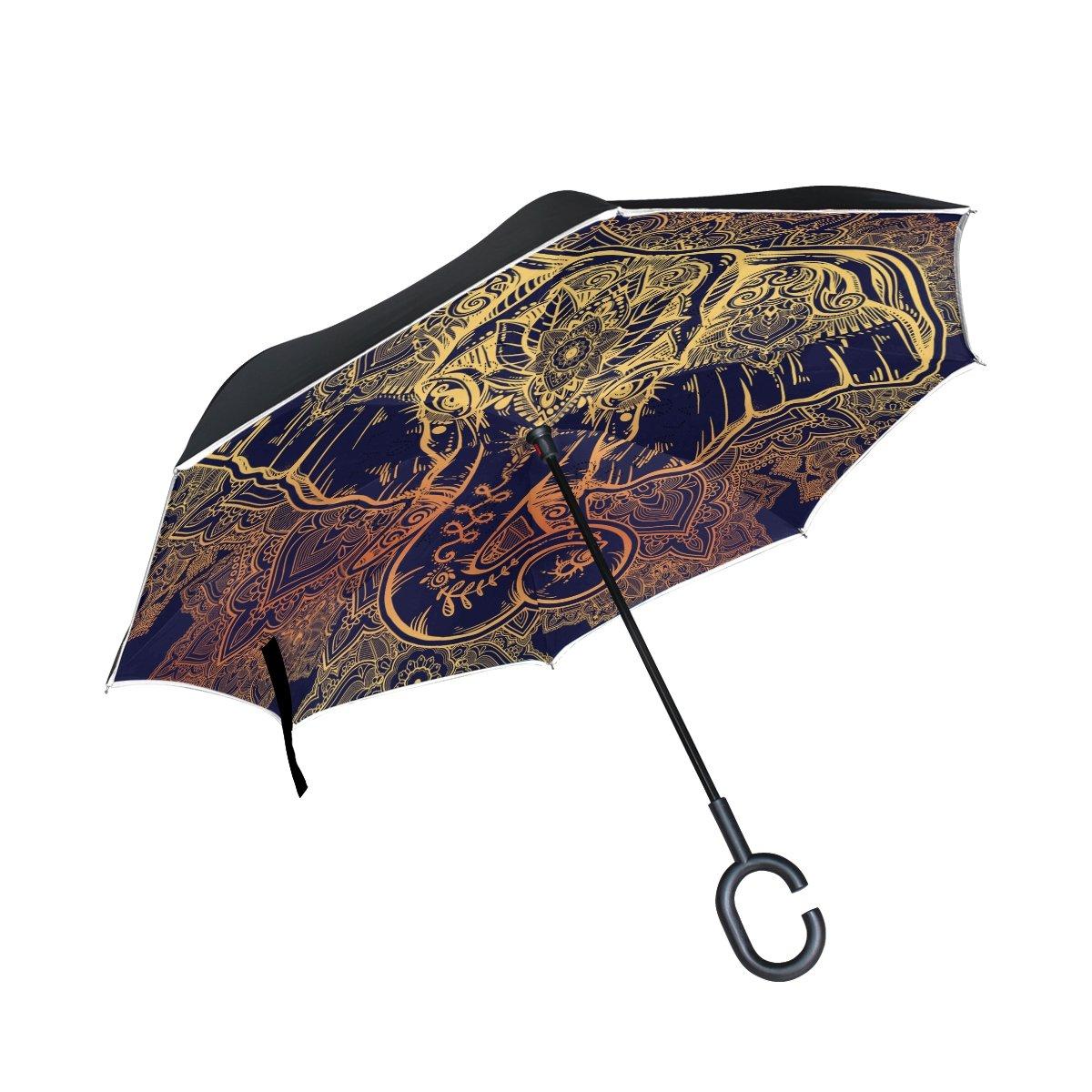 imobaby recto Self-Standing reserva paraguas hermoso floral Paisley Elefante cabeza doble capa auxiliar plegable paraguas paraguas impermeable para coche: ...