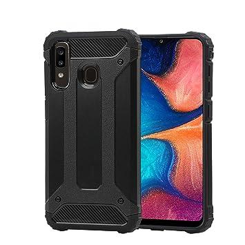Funda para Samsung Galaxy A20 + Cristal Templado, Weideworld Robusta Armadura Híbrida TPU + PC [Doble Capa] Carcasa de Protección Hibrida Armadura ...