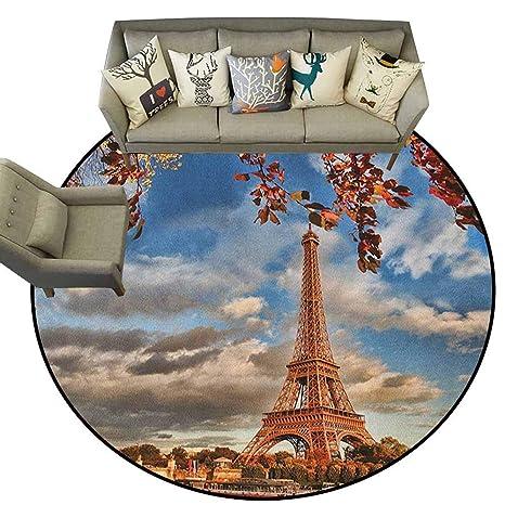 Amazon.com: Alfombra redonda, Torre Eiffel, vista aérea de ...