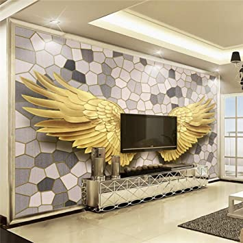 Amazhen Modernes Goldengel Tapete Wings Mustermosaiksteinmuster