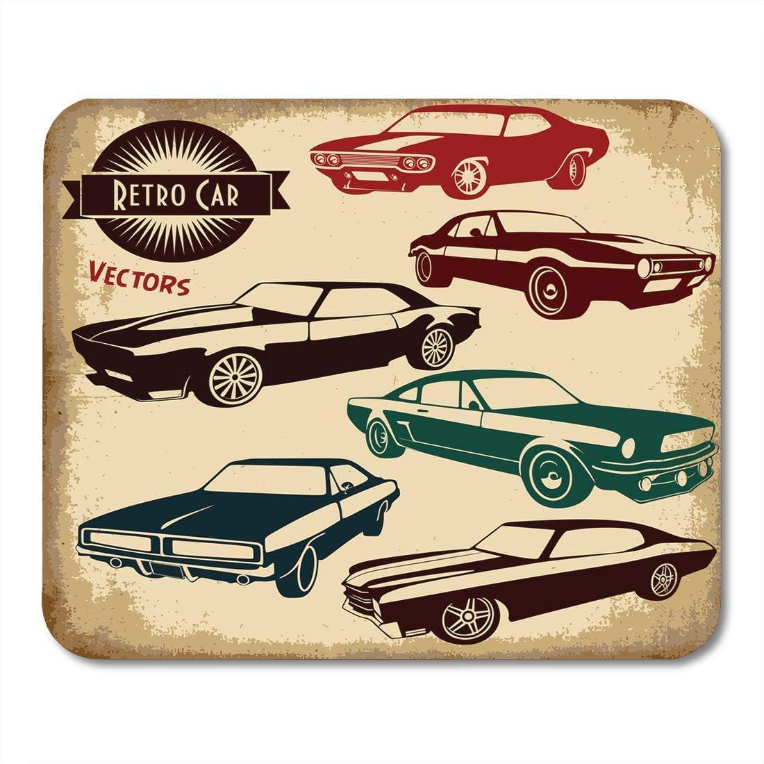 Luancrop Almohadilla para ratón Auto Retro Car Vintage Label ...