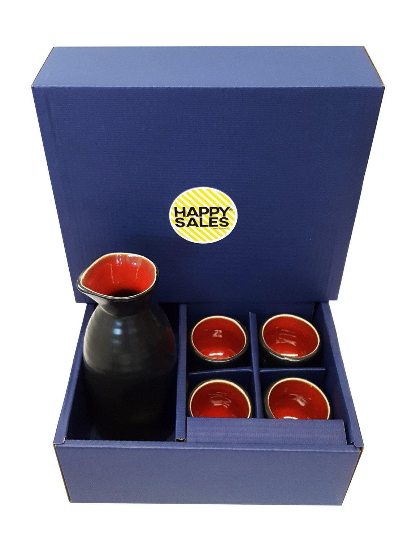 Happy Sales 5 piece Ceramic Sake set - Red & Black