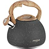 Poliviar Tea Kettle, 2.7 Quart Natural Stone Finish with Wood Pattern Handle Loud Whistle Food Grade Stainless Steel…