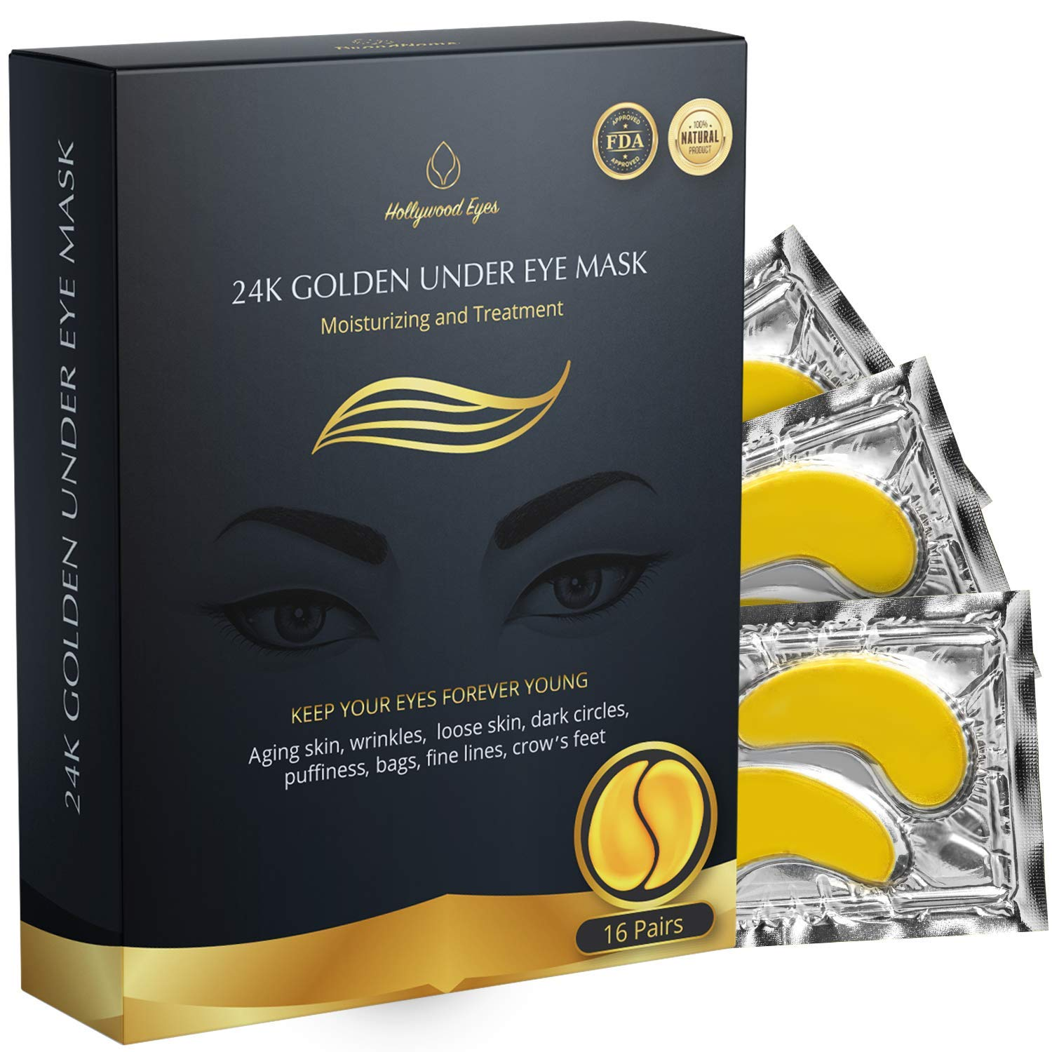 BrightJungle Under Eye Collagen Patch, 24K Gold Anti-Aging Mask, Pads for Puffy Eyes & Bags, Dark Circles and Wrinkles, with Hydrogel, Deep Moisturizing Improves elasticity, 16 Pairs : Beauty