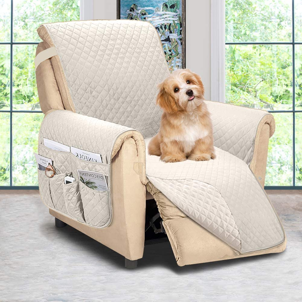 ASHLEYRIVER Reversible Recliner Chair Cover, Recliner Covers for Dogs,Recliner Slipcover,Recliner Covers for 3 Cushion Couch,Couch Protector(Recliner Oversize:Beige)
