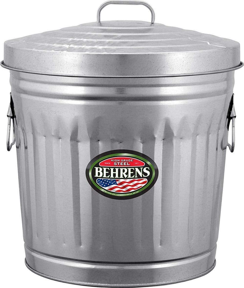 Amazon.com: Galvanized Steel Trash Can, 10-Gallon ...