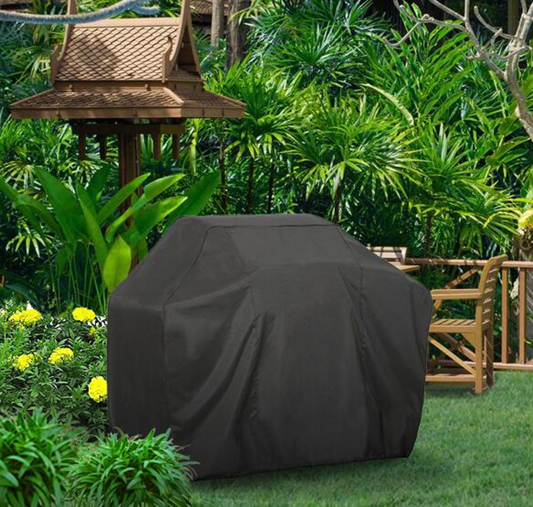 Grill Cover FLR 57in Black Waterproof Dust-Proof Fading Resistant BBQ Grill Covers for Holland Weber, Brinkmann, Jenn Air, and Char Broil Barbecue Grill Cover WCH AUTO ACCESSORIES LIMITED FLRBBQ001