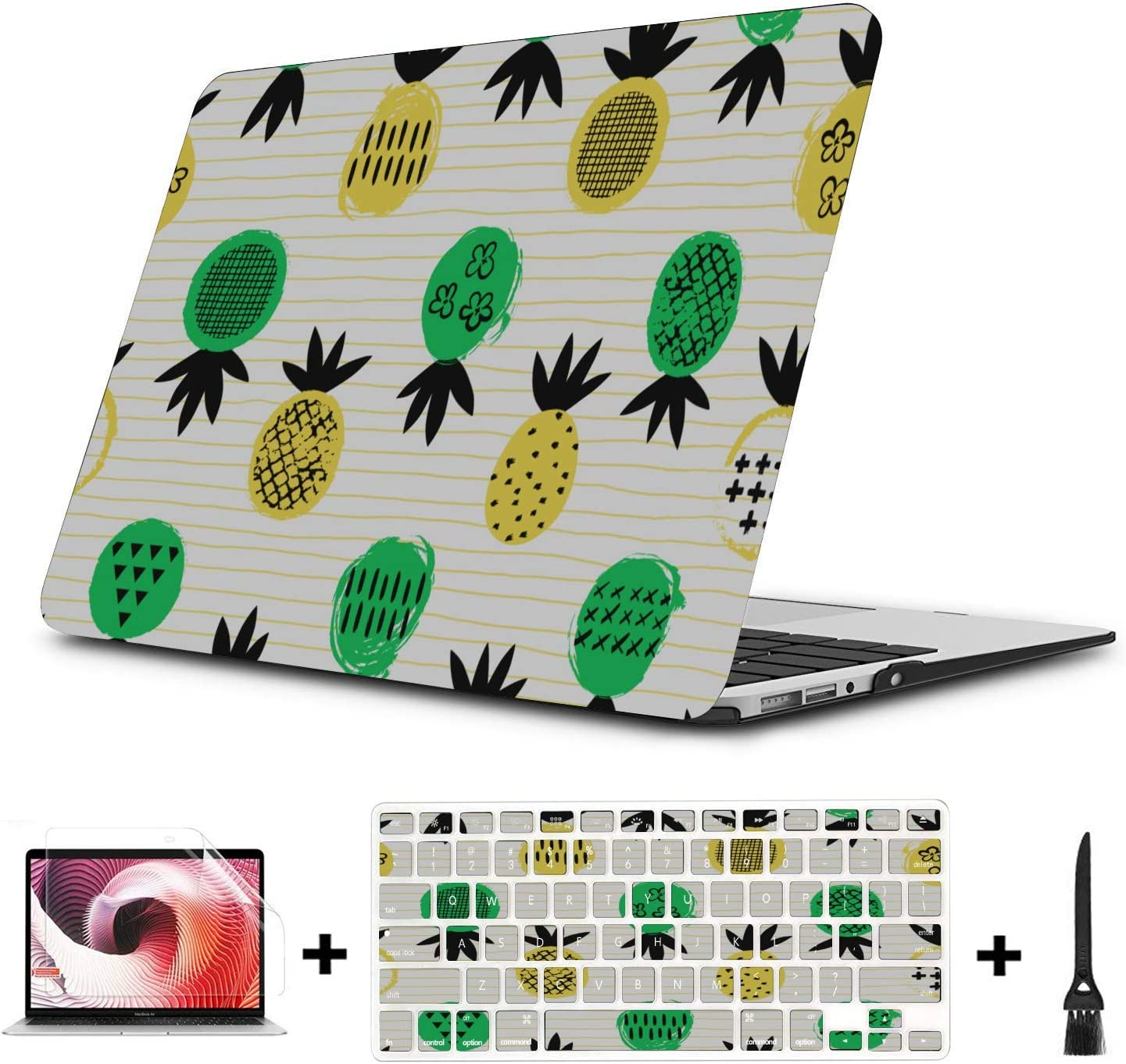 Mac Air Case Summer Fashion Sour Fruit Pineapple Plastic Hard Shell Compatible Mac Air 11 Pro 13 15 2017 MacBook Pro Case Protection for MacBook 2016-2019 Version