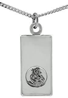 Sterling Silver St Christopher Ingot Pendant with 18