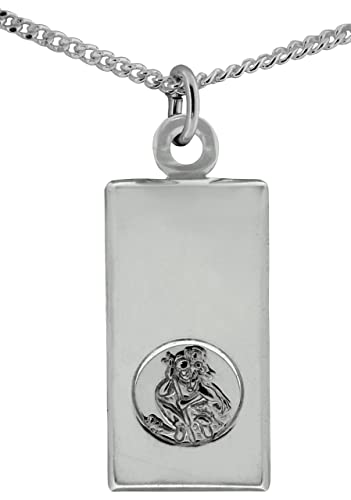 TOC Sterling Silver St Christopher Hallmarked Ingot Pendant Necklace 18 rukmkVPG