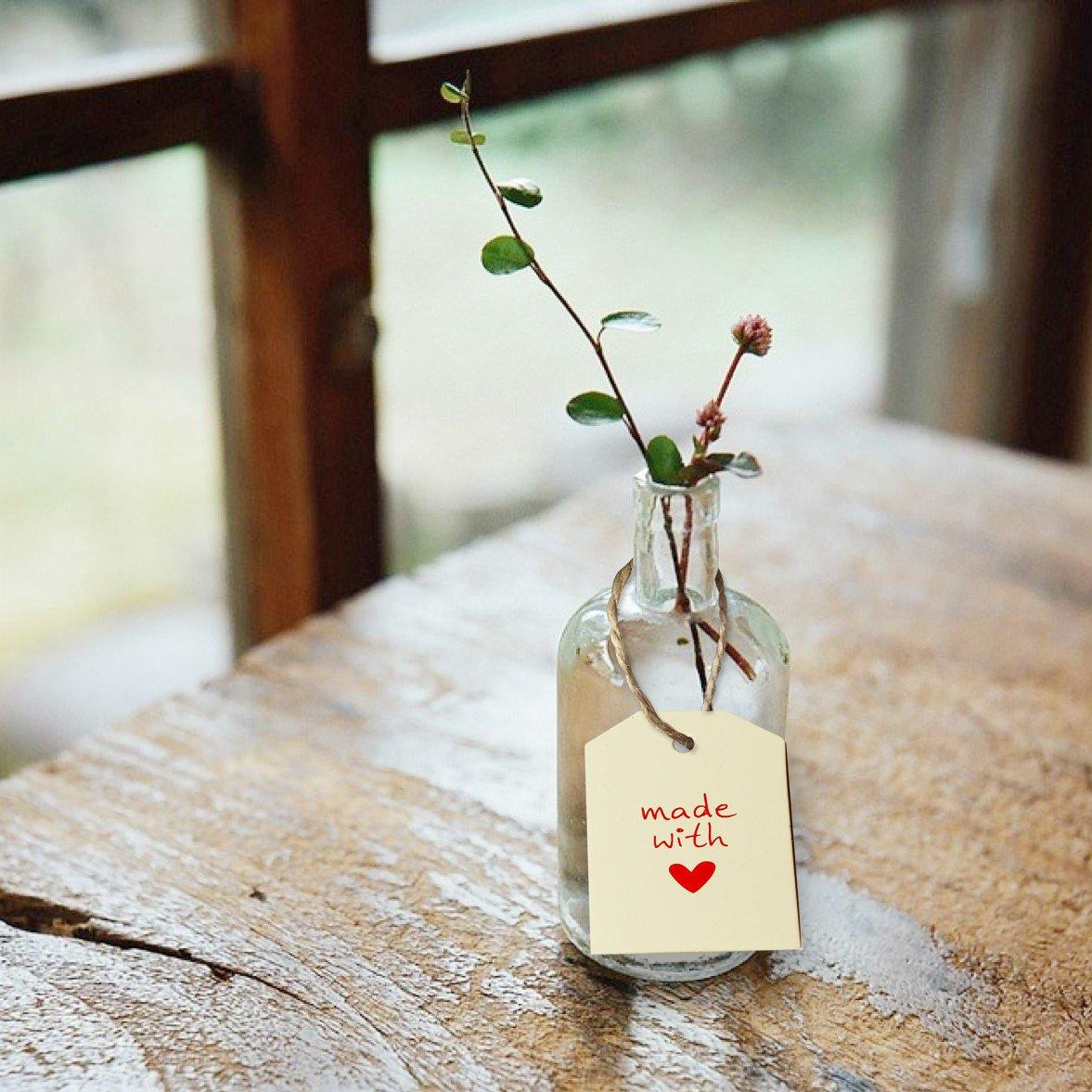 w/ählbar weiss made with love Oblique-Unique/® Geschenkanh/änger 20Stk Hochzeitsdeko Geschenkdeko Anh/änger mit Schnur und Motiv
