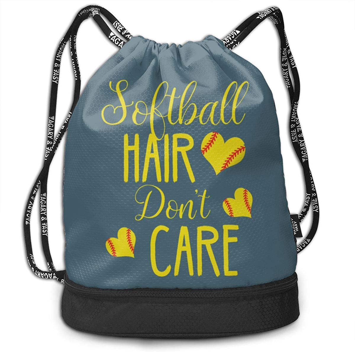 Softball Hair Don't Care Drawstring Backpack Compartment Sport Bag