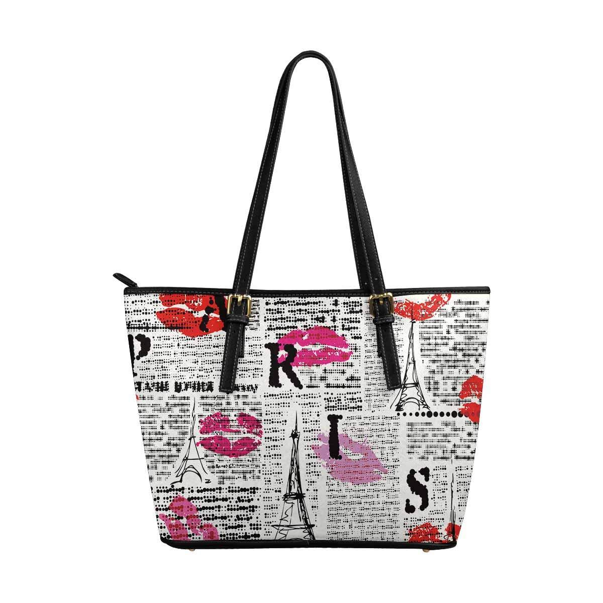 InterestPrint a Newspaper With Halftone Word of Paris Top Handle Satchel HandBags Shoulder Bags Tote Bags Purse