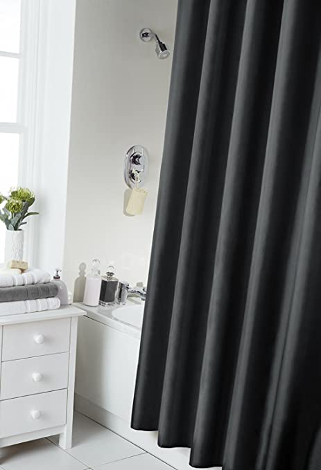 Spectrum 180 x 180 cm Shower Curtain and Rings Set, Black: Amazon.co ...