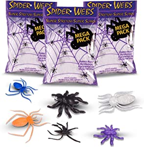 Halloween Spider Webs, Made in the USA 3 Jumbo Super Stretch Cobweb Webbing Packs + Black Colorful Spiders For Halloween Cobwebs Home Decoration Decor