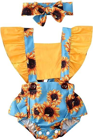 Newborn Sunflower Outfit Ruffle Sunflower Romper Bodysuit Shorts Headband Baby Girl Summer Clothes